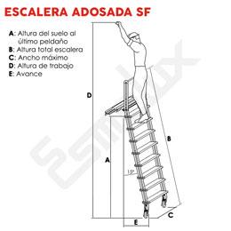 Escalera SF con ruedas adosada a estanterías. Imagen #1