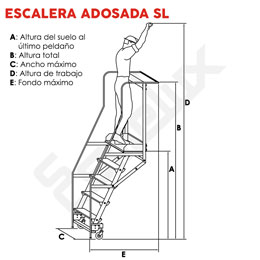 Escalera  adosada SL con plataforma y ruedas. Imagen #1