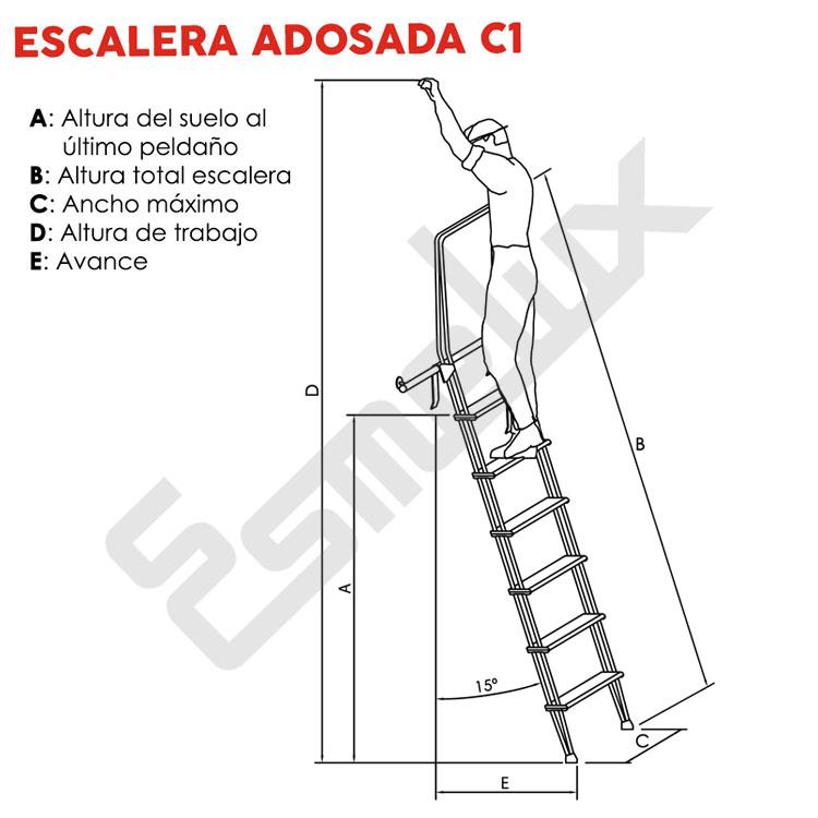 Escalera adosada c1 con ganchos for Escalera de medidas