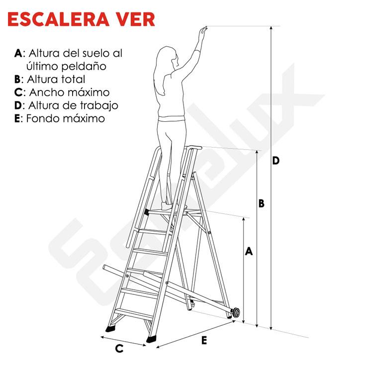 Escalera aluminio ver plataforma y barandilla for Ver escaleras