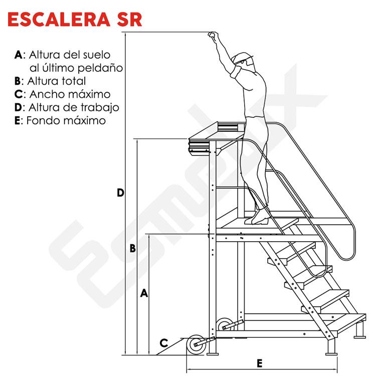Escalera SR sobre 4 ruedas, con mecanismo de freno. Imagen #2