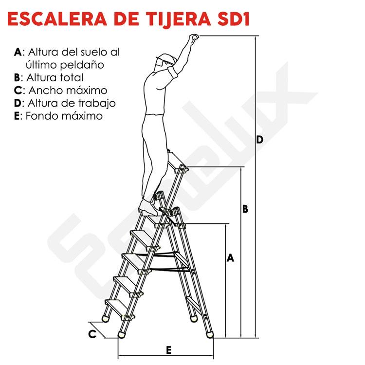 Escaleras de aluminio de tijera sd1 for Escaleras 10 peldanos de tijera