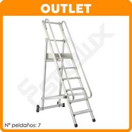 Escalera de plataforma con ruedas ccbr y seguridad esmelux for Escaleras 7 peldanos precio