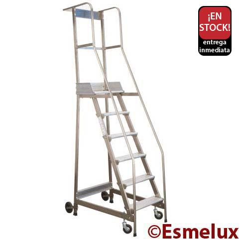 Escalera de plataforma con ruedas ccbr for Escaleras con plataforma precios