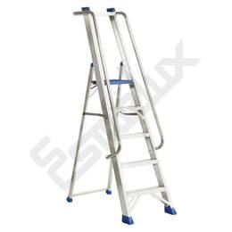 Escaleras aluminio, de tijera con barandilla NRGN