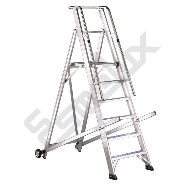 Escalera aluminio ver plataforma y barandilla homologada for Escaleras tres tramos