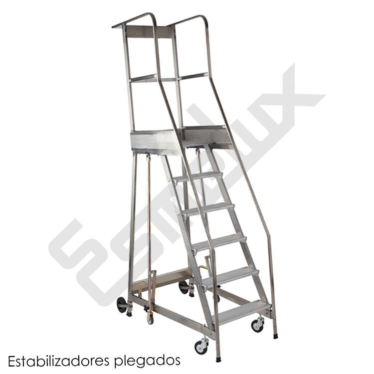 Escalera de plataforma con seguridad y sistema antivuelco for Escaleras 7 escalones