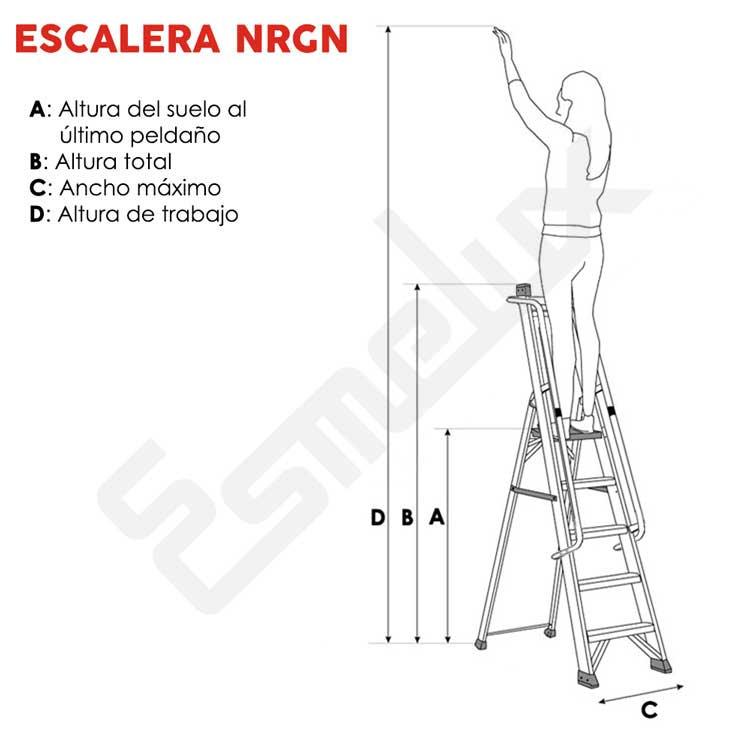 Escaleras aluminio de tijera con barandilla nrgn for Precios de escaleras de tijera de aluminio