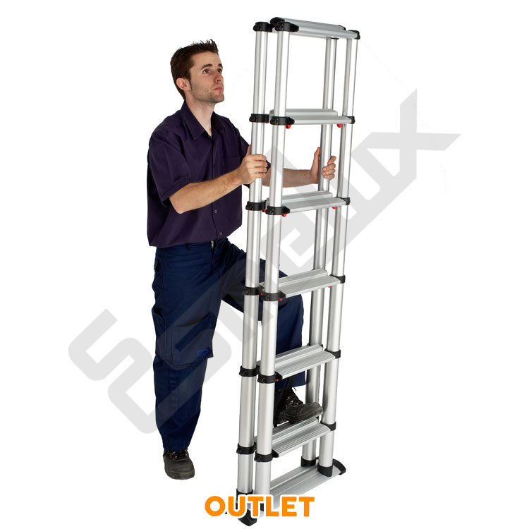 Escalera telesc pica outlet plegable de tijera for Precio de escalera telescopica