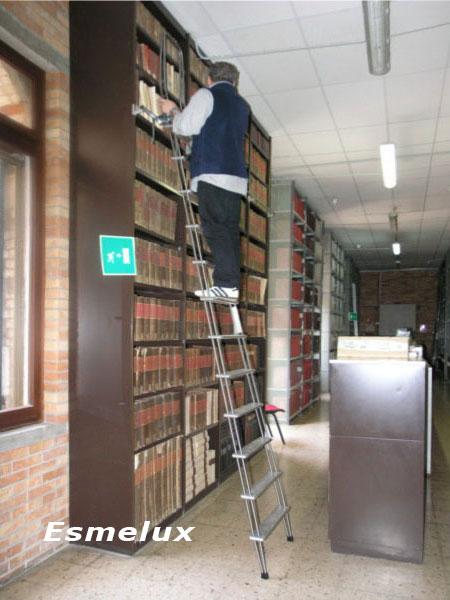 Escalera adosada c1 con ganchos for Escalera libreria