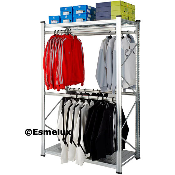 Estanter as met licas con 4 barras colgadoras de ropa y un - Estanterias para ropa ...