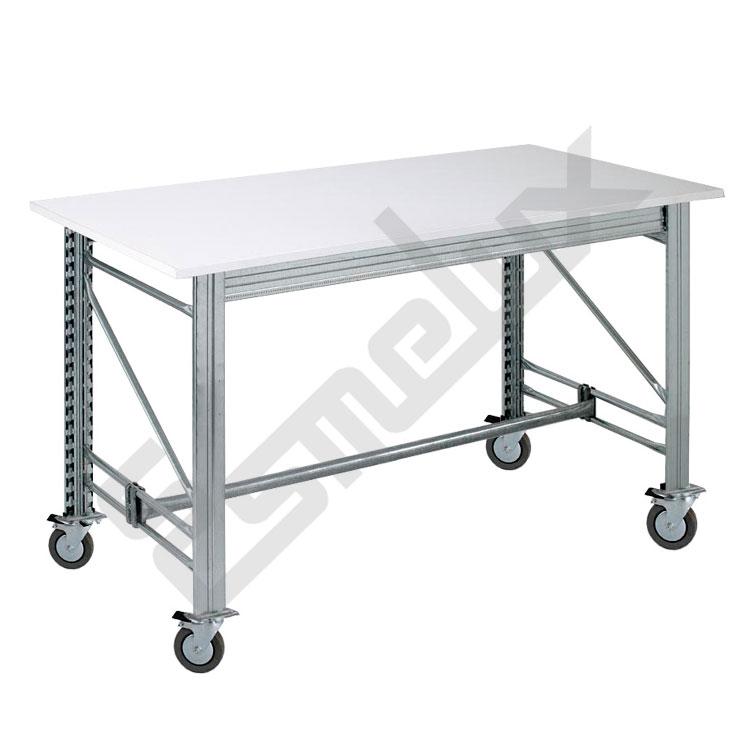 Mesa de trabajo melaminada con ruedas referencia 21972 - Ruedas para mesas ...