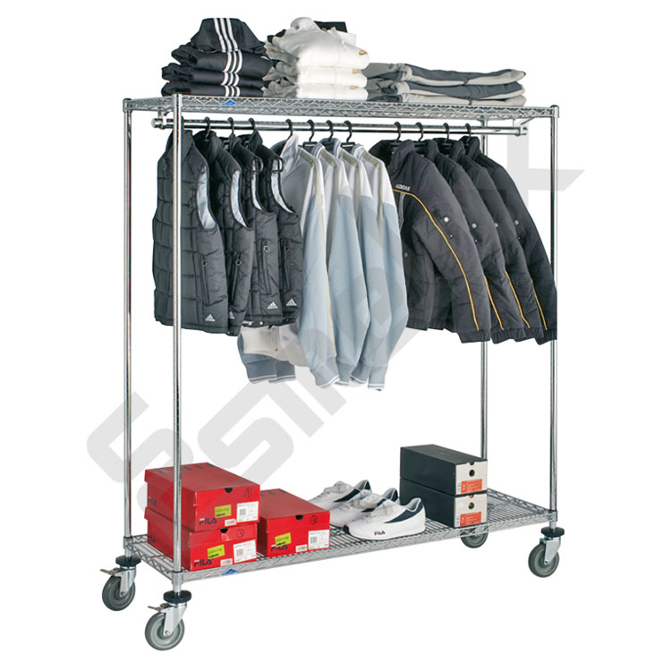 Estanter a cromada textil con ruedas referencia 25673 - Estanterias para ropa ...
