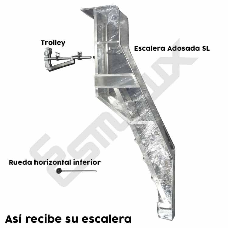 Escalera  adosada SL con plataforma y ruedas. Imagen #4