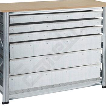 Cajones extraíbles para estanterías metálicas