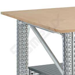 Mesa de Trabajo con encimeras cuadradas y estante. Imagen #1