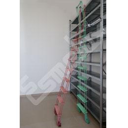 Escaleras de bibliotecas adosadas a estanterías
