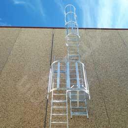 Escaleras fijas con protección espalda 2 tramos. Imagen #2