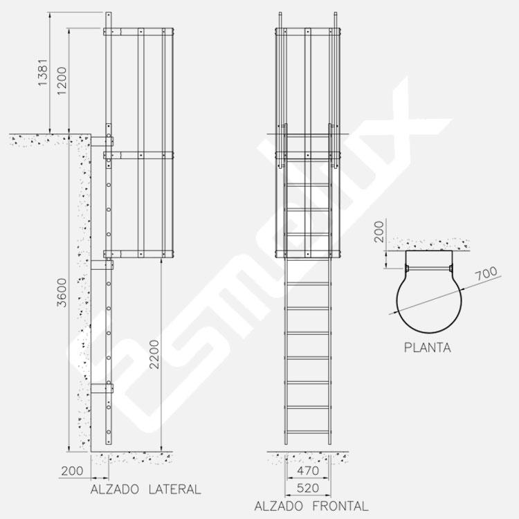 Escaleras fijas con protección espalda acero inox. Imagen #1