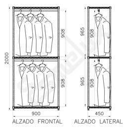 Estantería Cromada para Textil 2 barras colgadoras. Imagen #1