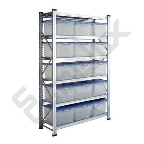 Estantería con 15 cajas transparentes multiuso