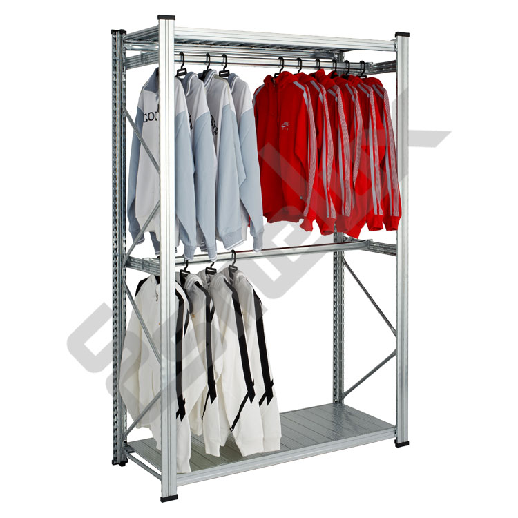 Estanter a met lica textil 2 estantes 2 colgador - Estanteria para ropa ...
