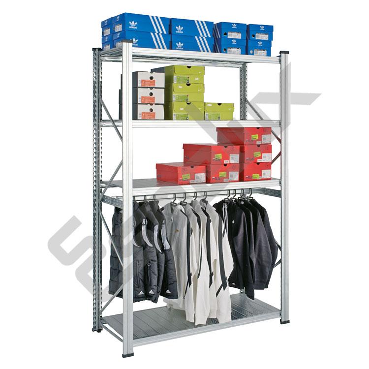 Estanter a met lica textil 4 estantes 1 colgador - Estanterias para ropa ...
