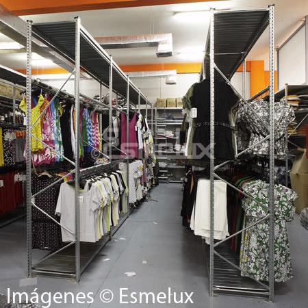 Estanter a met lica textil 2 estantes 4 colgador - Estanteria para ropa ...