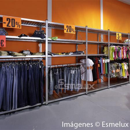 Estanter a met lica textil 4 estantes 1 colgador for Colgadores de ropa metalicos