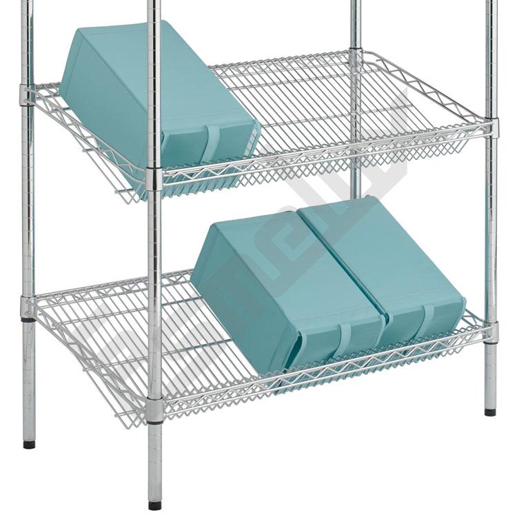 Estantería Cromo para Textil - estantes inclinados. Imagen #1