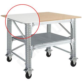 Mesa TS con encimera cuadrada - estante y ruedas