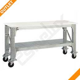 Mesa de taller OUTLET con estante y ruedas