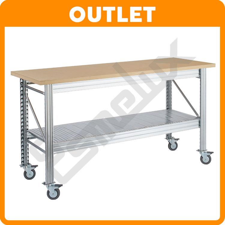 Mesas de trabajo ur con encimera de madera 30 mm - Mesas para ordenador con ruedas ...