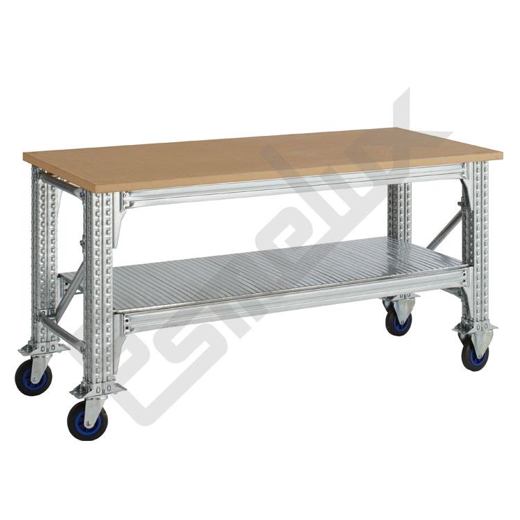 Mesas de Trabajo TS con ruedas y estante. Imagen #0
