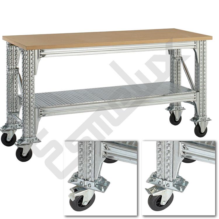 Mesas de Trabajo TS con ruedas y estante. Imagen #3