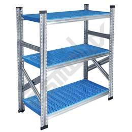 Mini estantería con 3 estantes de paneles azules