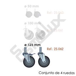 Conjunto de 4 ruedas para estanterías cromadas