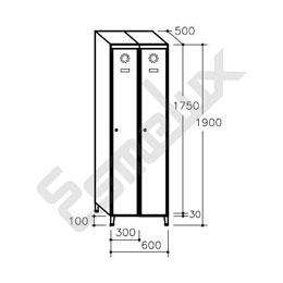 Taquilla Soldada 1 puerta por columna - 300 mm. Imagen #1