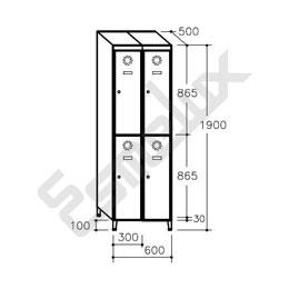 Taquilla Soldada 2 puertas por columna - 300 mm. Imagen #4