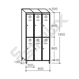 Taquilla Soldada 2 puertas por columna - 300 mm. Imagen #1