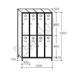 Taquilla Soldada 2 puertas por columna - 300 mm. Imagen #3