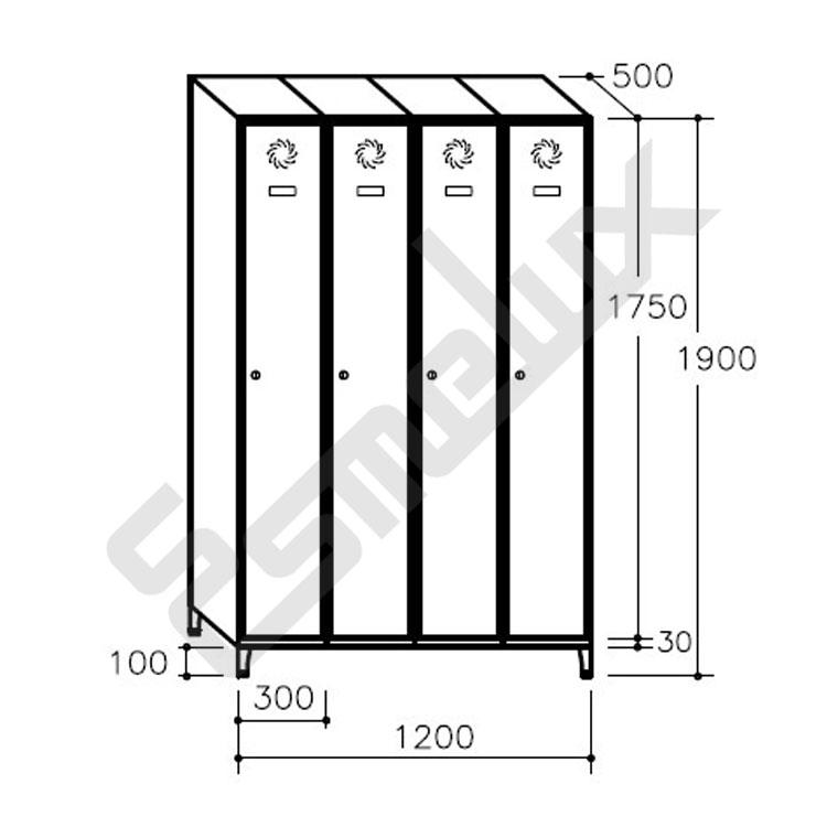 Taquilla Soldada 1 puerta por columna - 300 mm. Imagen #5