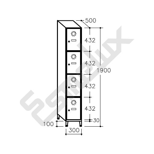 Taquilla Soldada 4 puertas por columna - 300 mm. Imagen #2