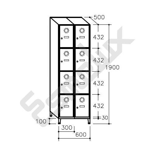 Taquilla Soldada 4 puertas por columna - 300 mm. Imagen #4