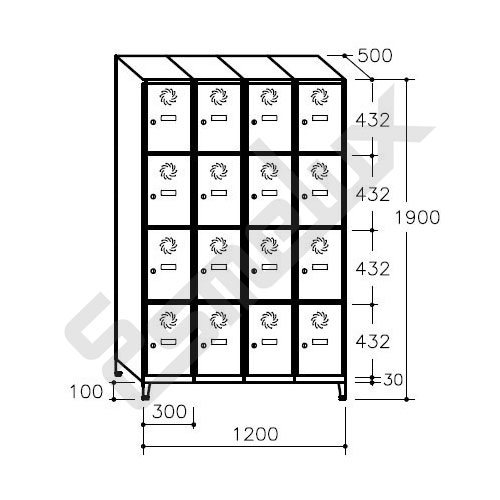 Taquilla Soldada 4 puertas por columna - 300 mm. Imagen #6