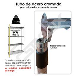 Mini Estantería cromada con estante contenedor. Imagen #1