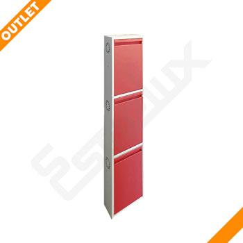 Zapatero Metálico de 3 puertas rojas OUTLET